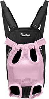 Pawaboo Pet Carrier Backpack, Adjustable Pet Front Cat Dog Carrier Backpack Travel Bag, Legs Out, Easy-Fit for Traveling Hiking Camping for Small Medium Dogs
