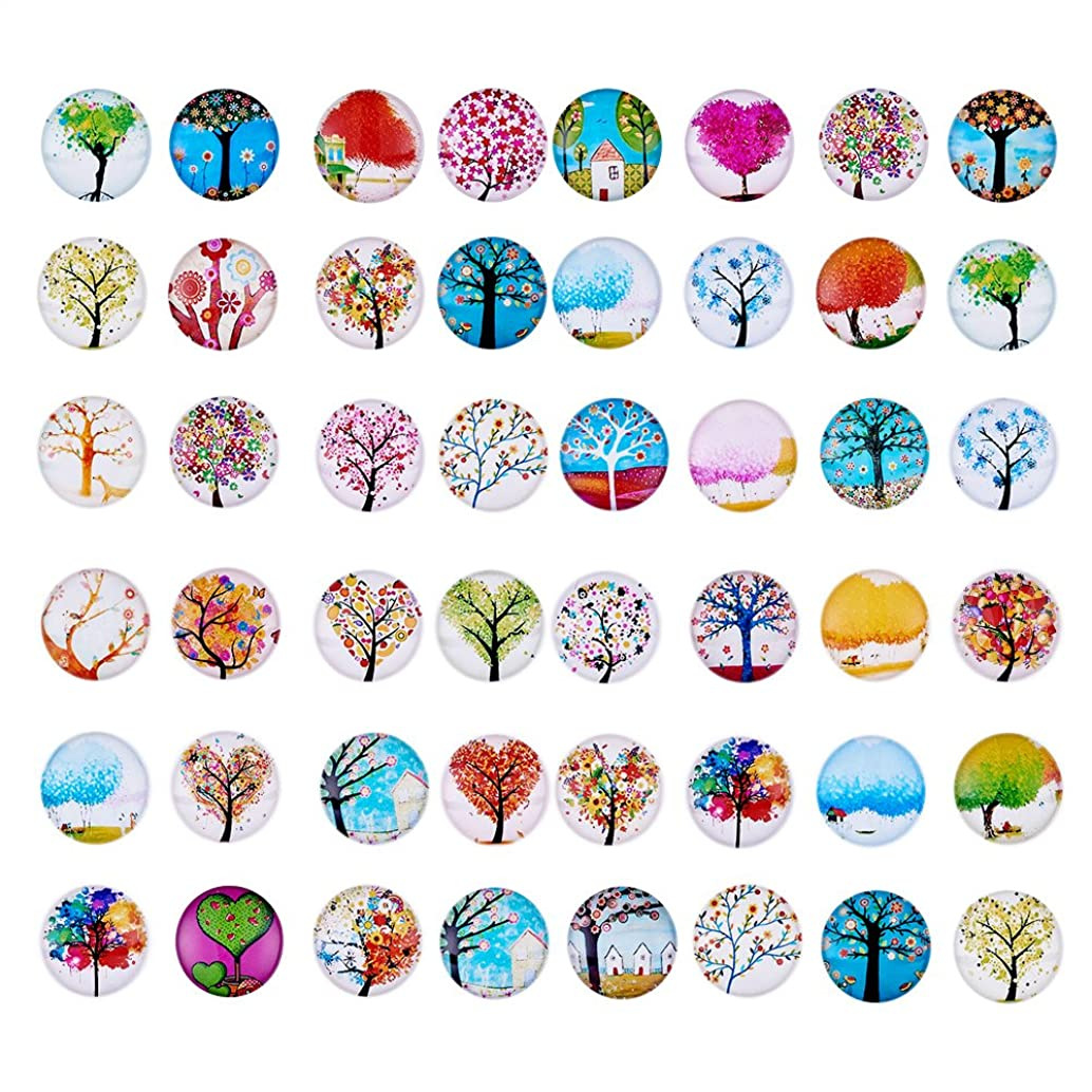 Craftdady 100PCS 25mm Mixed Color Tree of Life Printed Half Round Dome Glass Cabochons Loose Beads for Jewelry Making