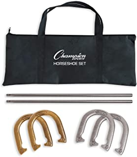 Champion Sports Horseshoe Set: Traditional Outdoor Lawn Game includes Four Professional Solid Steel Horseshoes with Solid Steel Stakes & Carrying Storage Case