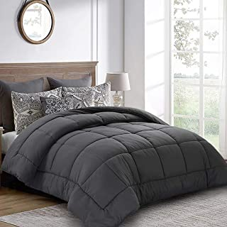 Balichun Twin Comforter (64 by 88 inches) - Grey Down Alternative Comforters Soft Quilted Duvet Insert with Corner Tabs Luxury Hotel Collection 1800 Series - All Season