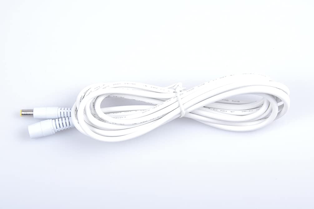 KNACRO DC 12V Plug Extension Cable White 9.84ft 5.5mm x 2.1mm 22AWG Male + Female for Power Adapter Monitoring Equipment Routers