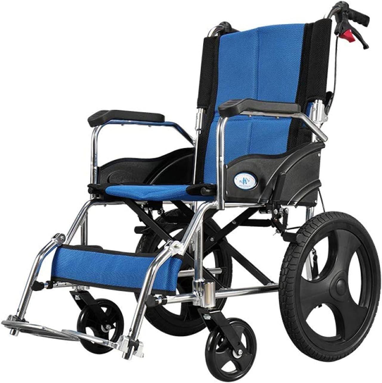 Silla de Ruedas - Silla de Ruedas Manual con Frenos operados por Asistente, Azul, fácil de Instalar y liberar, fáciles de Plegar,