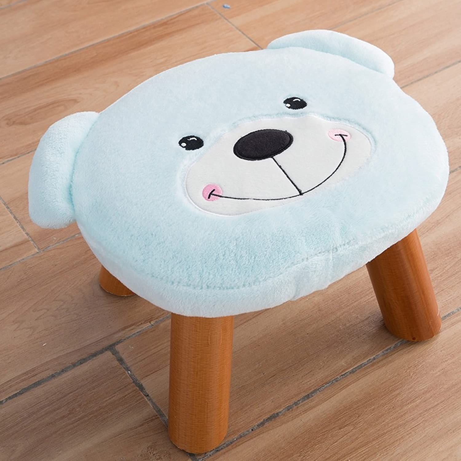 Padded Footstools Foot Rest with Wooden Legs Linen Fabric Cover Cute Bear (color   bluee)