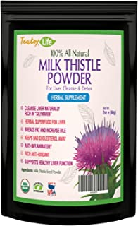 Teatox Life Organic Milk Thistle Powder with Silymarin for Liver Cleanse Detox Repair and Rescue Without Capsules   60 Gram - Herbal Seed Powder   USDA Organic