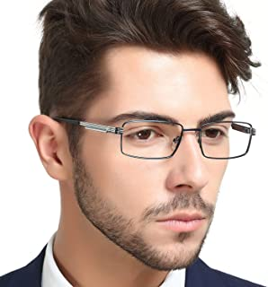 OCCI CHIARI Mens Rectangle Full-Rim Metal Black...