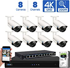 GW Security AutoFocus 4K (8MP) IP Camera System, 8 Channel H.265 4K NVR, 8 x 8MP UltraHD 3840x2160 Bullet POE Security Camera 4X Optical Motorized Zoom Outdoor Indoor