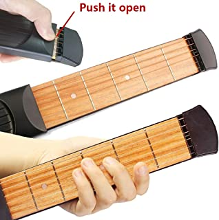 Greenten Pocket Guitar Practice Strings Tool Gadget 6 Fret Portable Finger Guitars Trainer Exercise Chord (Black)
