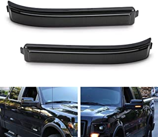 iJDMTOY Smoked Lens Amber Full LED Side Mirror Marker Lights For 2009-14 Ford F150 & 2010-14 SVT Raptor, Replace OEM Amber Bulb-Less Reflectors