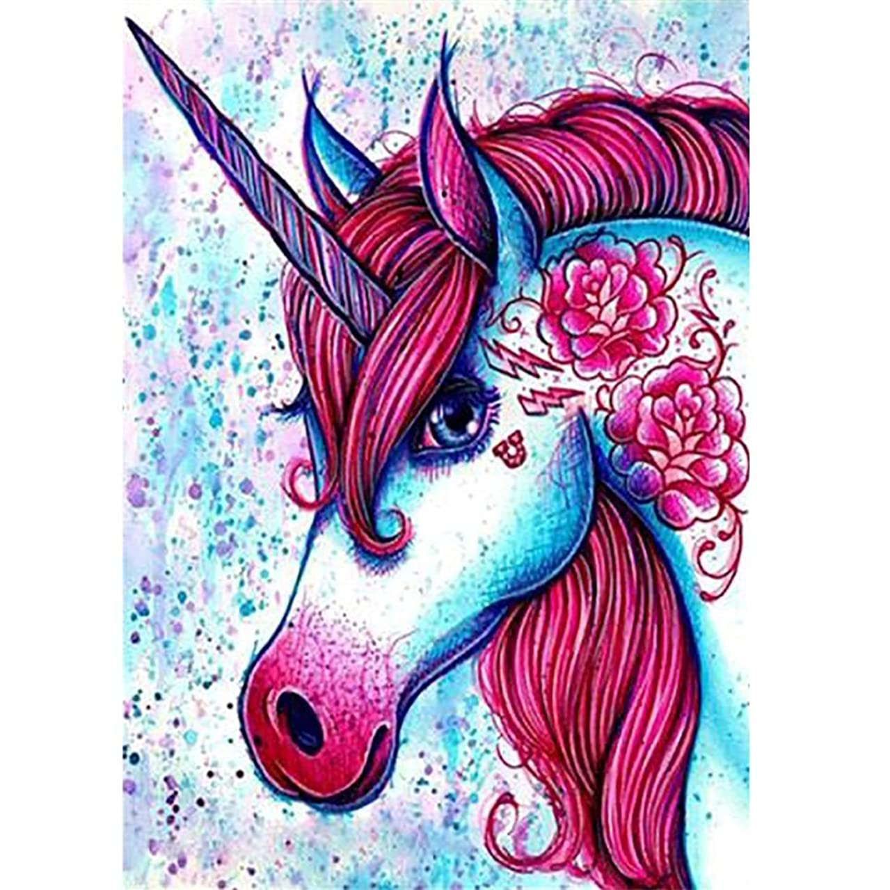 DIY 5D Diamond Painting by Number Kits, Colored Unicorn Full Drill Rhinestone Embroidery Cross Stitch Pictures Arts Craft for Home Wall Decor 11.8 x 15.8 inch