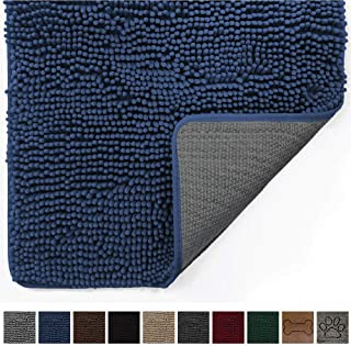 Gorilla Grip Original Indoor Durable Chenille Doormat, Large, 36x24, Absorbent, Machine Washable Inside Mats, Low-Profile Rug Doormats for Entry, Back Door, Mud Room, High Traffic Areas, Navy Blue