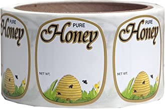 Mann Lake 250 Count Golden Honeybee Skep Label, 1-5/8 by 1-15/16-Inch