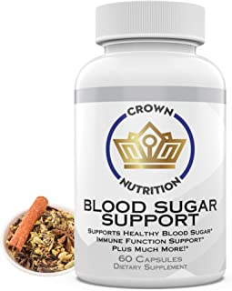 Crown Nutrition Blood Sugar Support Supplement - 20 Herbs & Multivitamins for Blood Sugar Control with Alpha Lipoic Acid &...