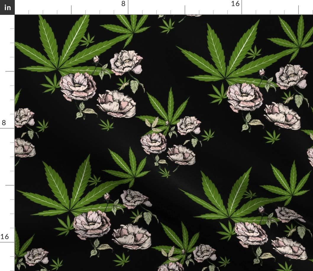 Raleigh Mall Spoonflower Fabric All items in the store - Cannabis Floral Pot Leaf Pr Marijuana Peony