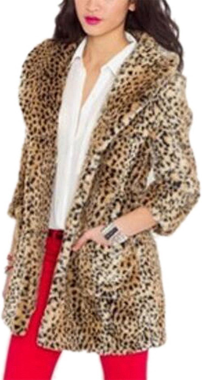 Women's Warm Leopard Faux Fur Coat Winter Wide Lapel Fashion Outerwear Jacket