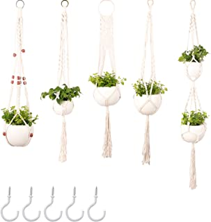 NOWANA 5 Packs Macrame Plant Hanger with 5 Hooks, Indoor Outdoor Hanging Planter, Handmade Cotton Rope Hanging Planters Basket Set, Different Tiers Plant Pot Holder, Boho Home Garden Décor