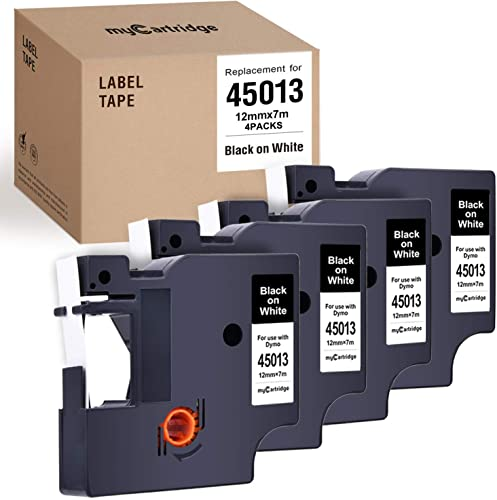 popular myCartridge 4-Pack Compatible with Dymo D1 Label Tape 45013 outlet online sale (S0720530) Black discount On White Replacement for Dymo Label Manager 160 280 420P Pnp 220P 360D 450 210D(1/2 Inch x 23 Feet, 12mm x 7M) outlet online sale