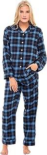 Women's Warm Flannel Pajama Set, Long Button Down Cotton Pjs