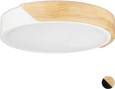 Relaxdays Plafoniera LED, Lampada da Soffitto, 18W, Rotonda, Luce Calda, per Corridoio, Metallo e Legno, HxD 5 x 30 cm, Bianco