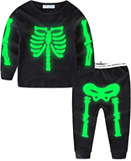 Mud Kingdom Glow in The Dark Skeleton Boys Pajamas Sets Short Sleeve Summer Black