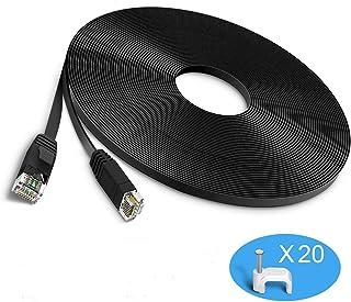 GLCON LANケーブル CAT6 10m イーサネットケーブル カテゴリー6準拠ランケーブル RJ45コネクタ スーパーフラットらんけーぶる 爪折れ防止lanケーブル やわらかネットワークケーブル lan ケーブル10m PS3 PS4 PLC ADSL回線 CATV回線 光通信回線 ISDN回線に対応しています(10m ブラック)
