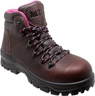 حذاء عمل نسائي من Ad Tech، حذاء برقبة من الجلد المحبب بالكامل المقاوم للماء بنسبة 100%، حذاء طويل الأمد آمن ومناسب للأمان بني