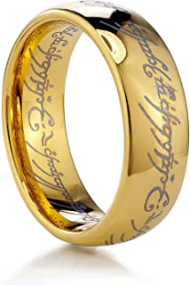 TUSEN JEWELRY 8mm Magic Tungsten Carbide Ring Gold Plated Wedding Band for Men and Women
