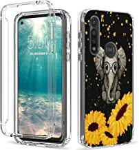 Moto G Power 2020 Case (6.4'), Shockproof Clear Dual Layer Hybrid Protection Hard PC Bumper & Soft TPU Shell Cover Protective Phone Case for Girls & Boys, Sunflower Baby Elephant