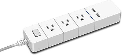 Power Strip with 2 USB Charging Station and 3 Outlet, Desktop Charging Power Strip with 5.8 Feet Cord.