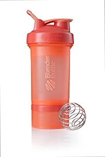BlenderBottle C01717 ProStak System with 22-Ounce Bottle and Twist n' Lock Storage, 22 oz, Coral