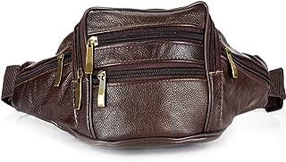 Men Genuine Leather Waist Packs Men Organizer Travel Waist Pack Necessity Waist belt Mobile Phone Bag,Brown