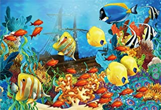 GoEoo 10x7ft Underwater Pirate Shipwrecks Photography Background Ocean Seabed Under The Sea World Fishes Aquatic Plant The Sinking Sunken Ship Photo Backdrop Photo Studio Props
