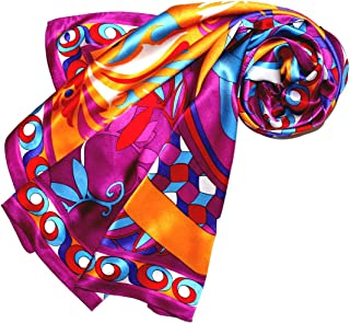 LORENZO CANA Foulard pour la femme – écharpe de 100% soie pour le printemps et l´été, carré avec les mesures de 90 x 90 cm...