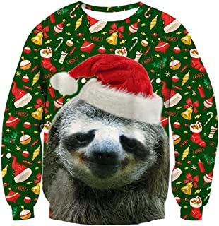 3D Graphic Ugly Christmas Sweater Funny Crew Neck Pullover Sweatshirt for Men Women