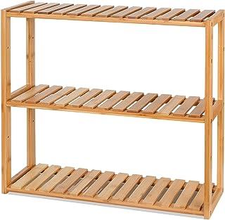 HOMFA DIY Estanteria Baño Pared Estantería de bambú Baño Sala o Cuarto con 3 niveles para almacenaje y organización 60x15x54cm