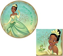 Princess and The Frog's Princess Tiana Themed Party Supplies: Bundle Includes: Round Dinner Plates and Napkins for 16 People