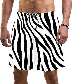 henghenghaha Mens Swim Shorts Waterproof Quick Dry Beach Shorts with Mesh Lining,Zebra Pattern