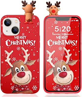 """Pnakqil Boże Narodzenie etui do Apple iPhone 13 Mini 5,4"""" etui, silikonowe czerwone 3D Cartoon Christmas REH słodkie etui ..."""