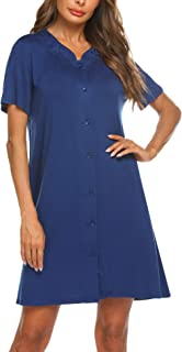 Womens Dusters and Housecoats Short Sleeves Nightgown Button Front Nightwear Lounger PJs Dress S-XXL