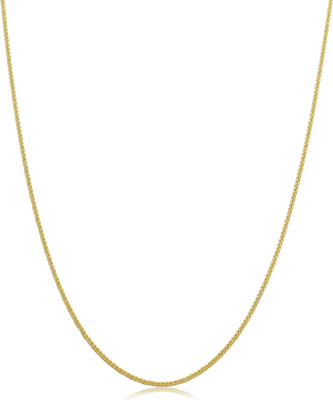 Kooljewelry 14k Yellow Gold 1.1 mm Square Wheat Chain Necklace