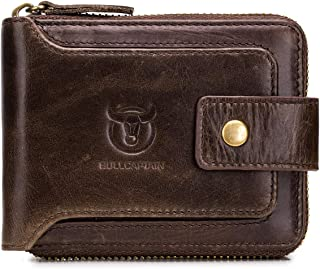 Genuine Leather Wallet for Men Large Capacity ID Window Card Case with Zip Coin Pocket QB-231 (Coffee)