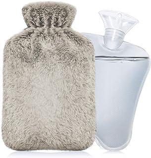 IZTOSS 湯たんぽ 容量2L ゆたんぽ お湯入れ 注水式 エコ湯タンポ 柔らかく温かいなカバー付き 防寒グッズ 足 冷え対策 疲れ緩和 生理期最適 (B-ブラウンホワイト)