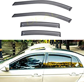 DEAL 4-piece set JDM style vent smoke window visor, side window sun rain guard with outside mount tape-on type, custom fit for 2004-2008 Acura TL Type-S/Base Sedan 4-Door