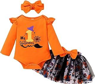 3Pcs Baby Girls My 1st Halloween Outfits Long Sleeve Romper +Bow Tulle Tutu Dress+Headband Skirt Set