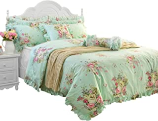 FADFAY Green Floral Duvet Cover Sets Vintage Flower Printed Bedding Hypoallergenic 100% Cotton Twin Extra Long Designer Bedding Set 3 Pieces, 1duvet Cover & 2pillowcases (Twin XL Size, Ruffle Style)