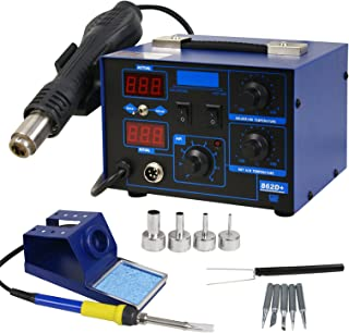 Smartxchoices Pro 2In1 862D+ SMD Soldering Iron Hot Air Rework Station LED Display w/4 Nozzles As Free Gifts