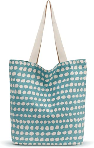 Patterned Multicolor 17.5 x 16 Inch Cotton Canvas Market Totes Assorted Set of 6