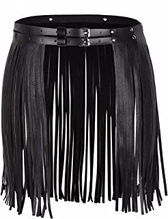 Women's Faux Leather Adjustable Double Waist Belt Fringed Skirt with Buckles