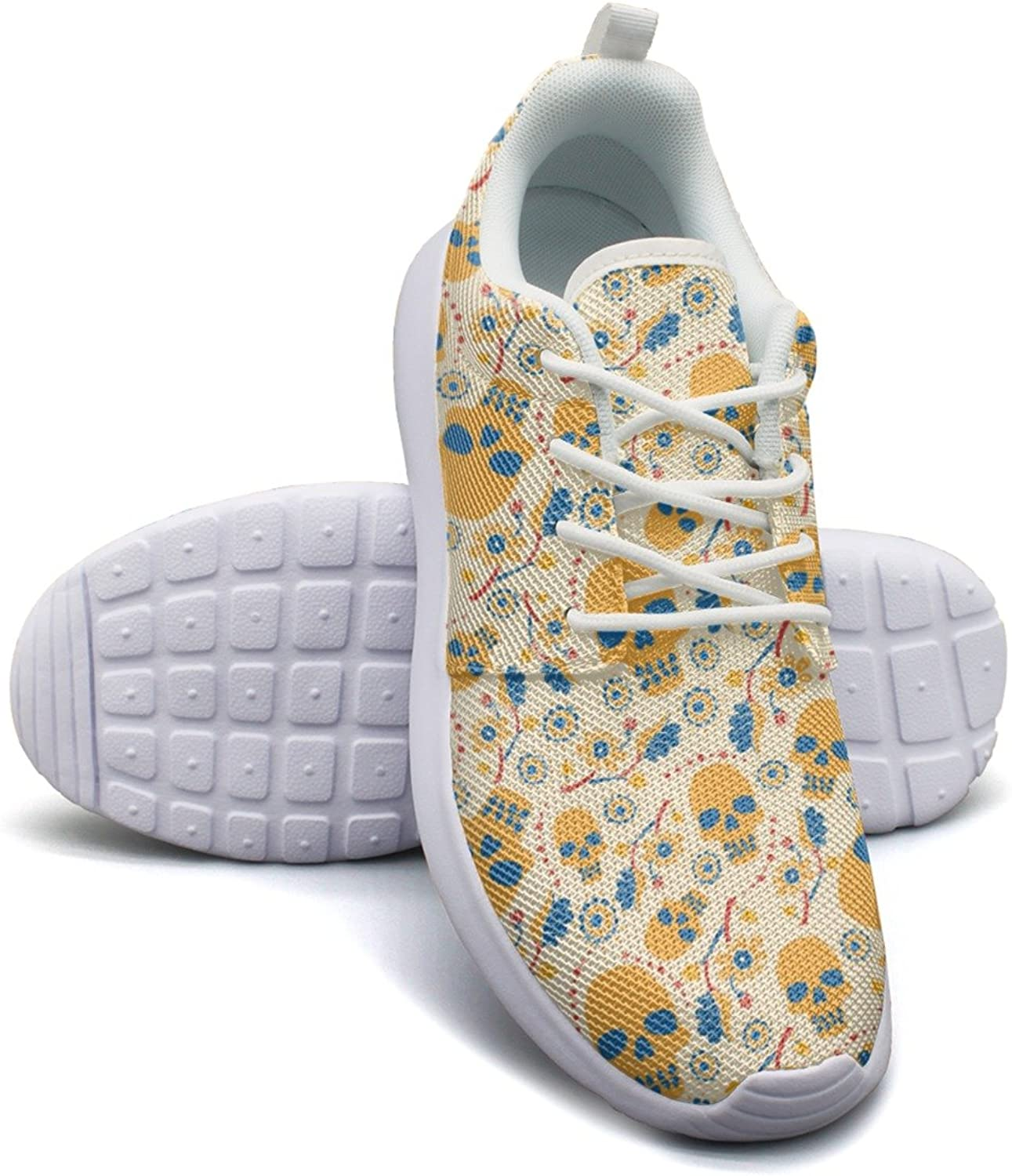 golden Skull With Flowers Women's Lightweight Mesh Tennis Sneakers Unique Boat shoes