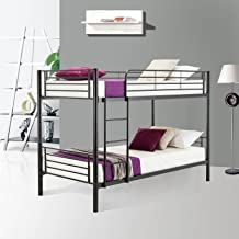 LAGRIMA Metal Bunk Bed Twin Over Twin - with Removable Ladder and Safety Guard Rail - for Teens/Children/Adults - Easy Assembly - Black