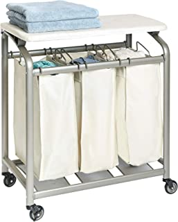Seville Classics Mobile 3-Bag Laundry Hamper Sorter with Folding Table Cart, Champagne Gold